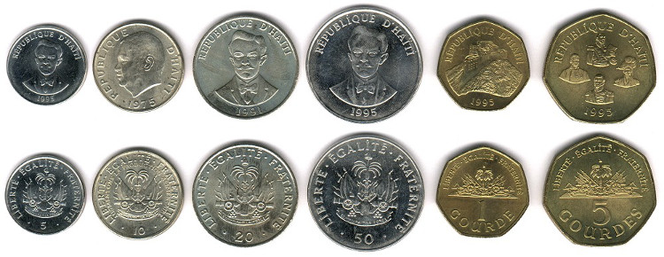 A selection of Haitian coins
