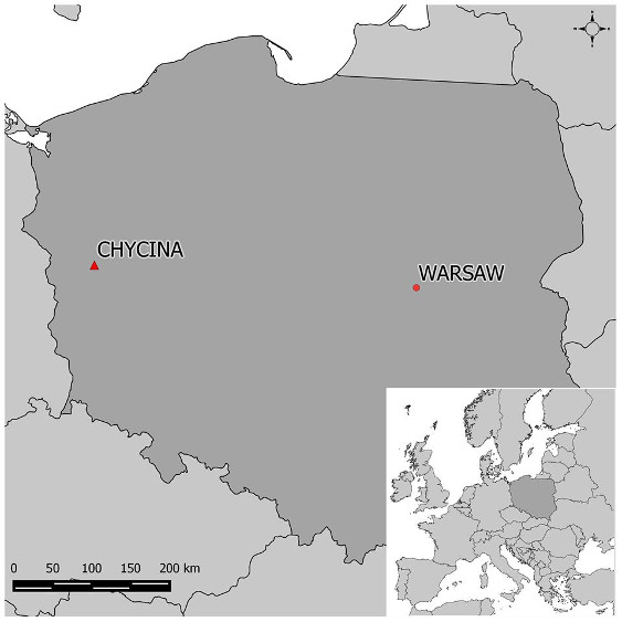A map of Poland showing Chiycina