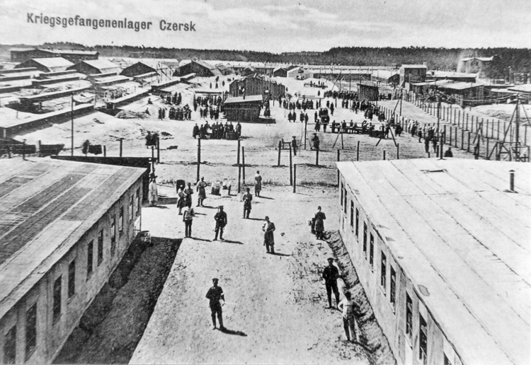 Figure 4. Propaganda German postcard presenting the camp in Czersk (wooden barracks in the front).