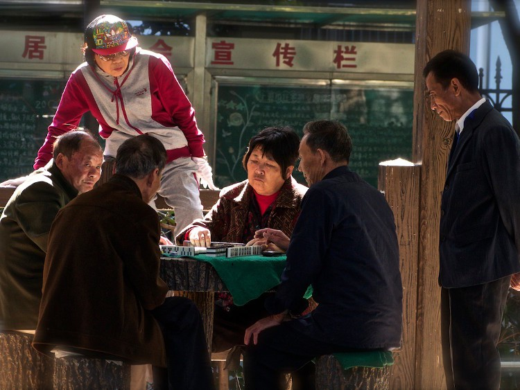 Mahjong in the Park - Shanghai, China by Samuel Victor
