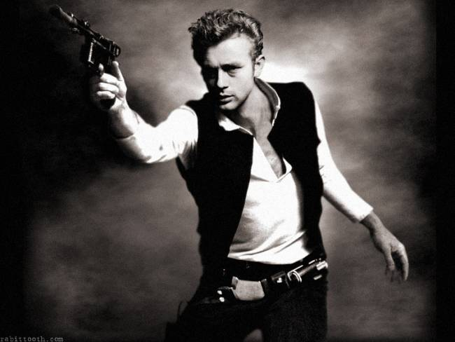 It's a fine line between criminal and saviour. James Dean as Han Solo, by Rabittooth via DeviantArt.