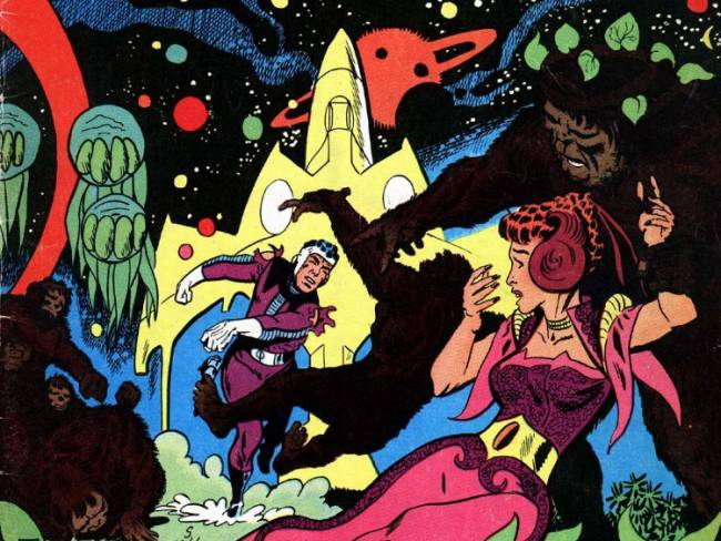 Monsters, superheroes, and babes on the cover of Space War no.29: Enchanted Planet, May 1978.